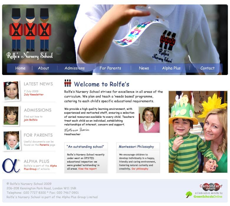 Enlarge Rolfe's Nursery School website design