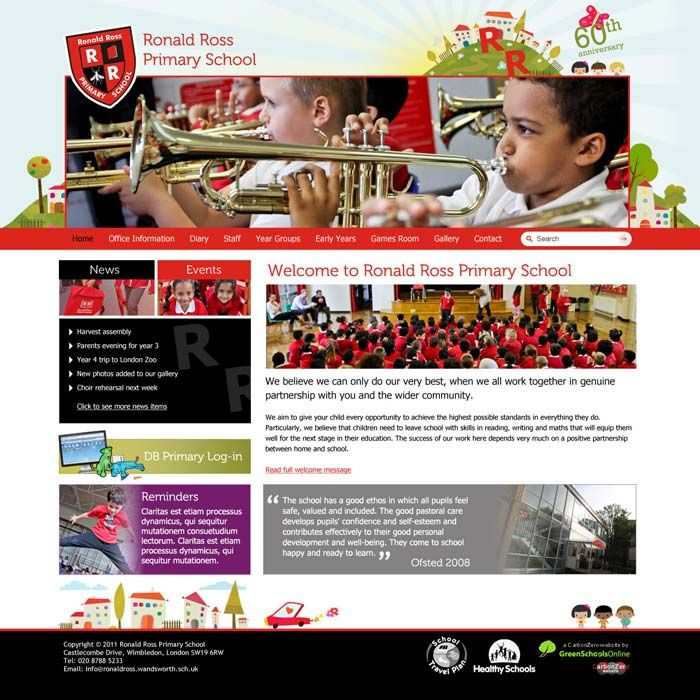 Enlarge Ronald Ross Primary School website design