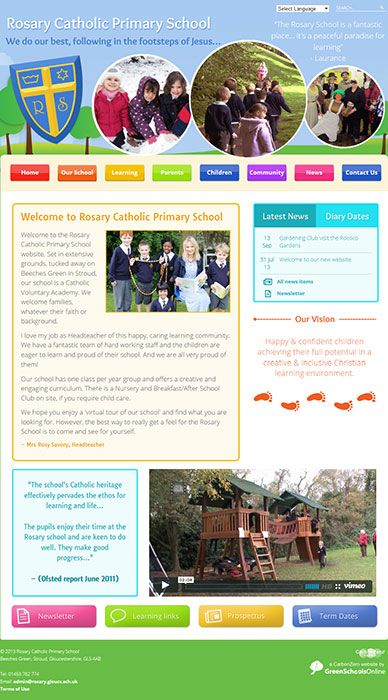 Enlarge Rosary Catholic Primary School website design