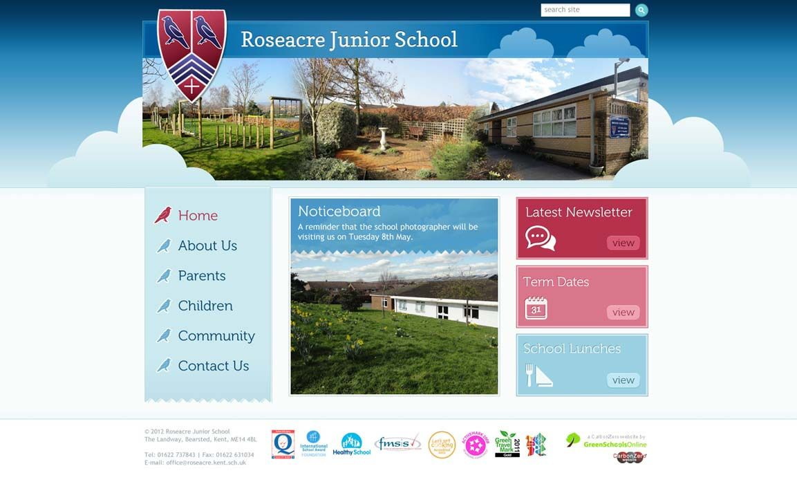Enlarge Roseacre Junior School website design