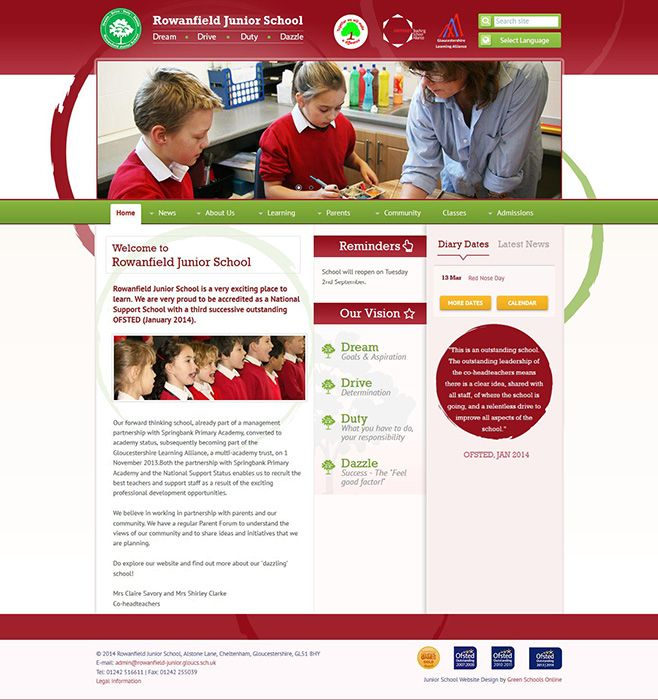 Enlarge Rowanfield Junior School website design