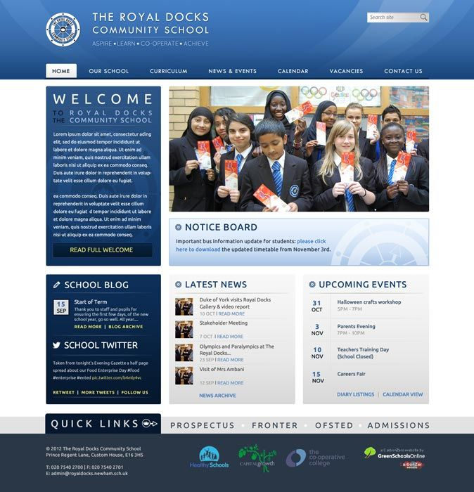 Enlarge Royal Docks Community School website design