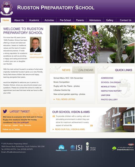 Enlarge Rudston Prepatory School website design