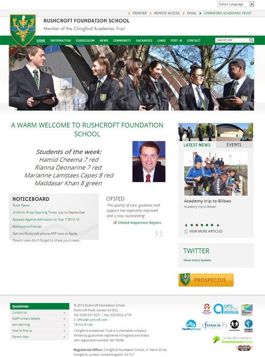 Enlarge Rushcroft Foundation School website design