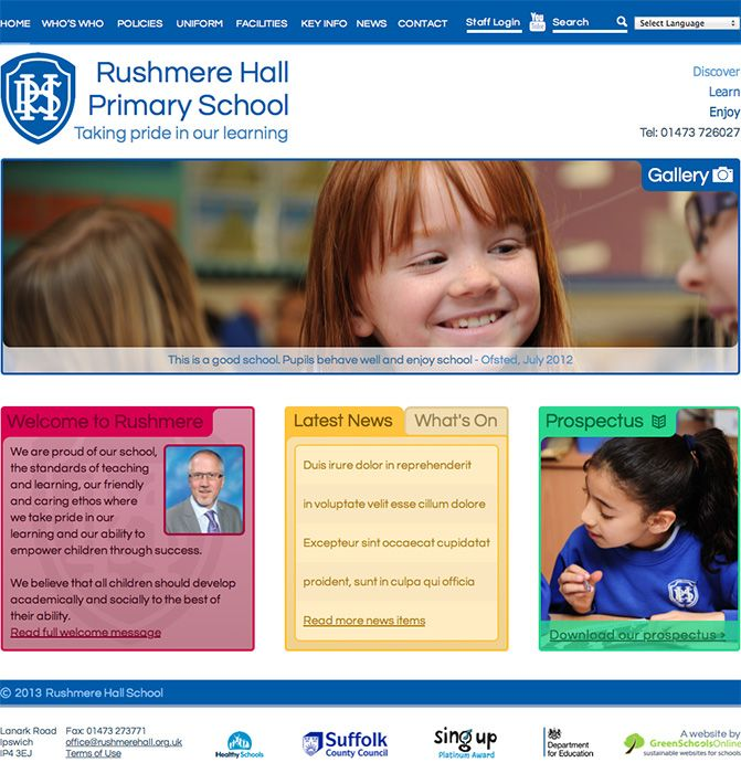 Enlarge Rushmere Hall Primary School website design