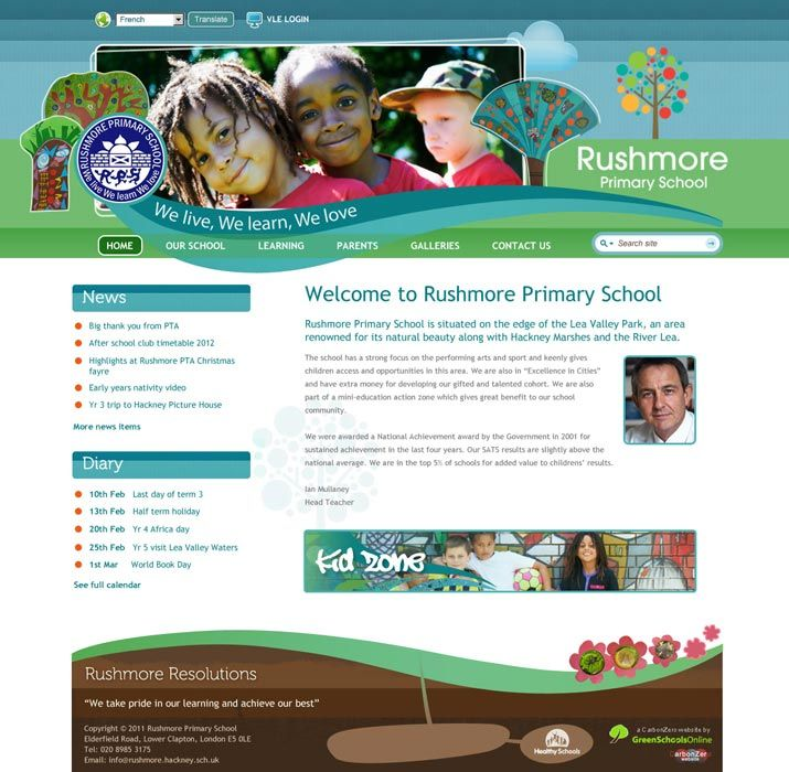 Enlarge Rushmore Primary School website design