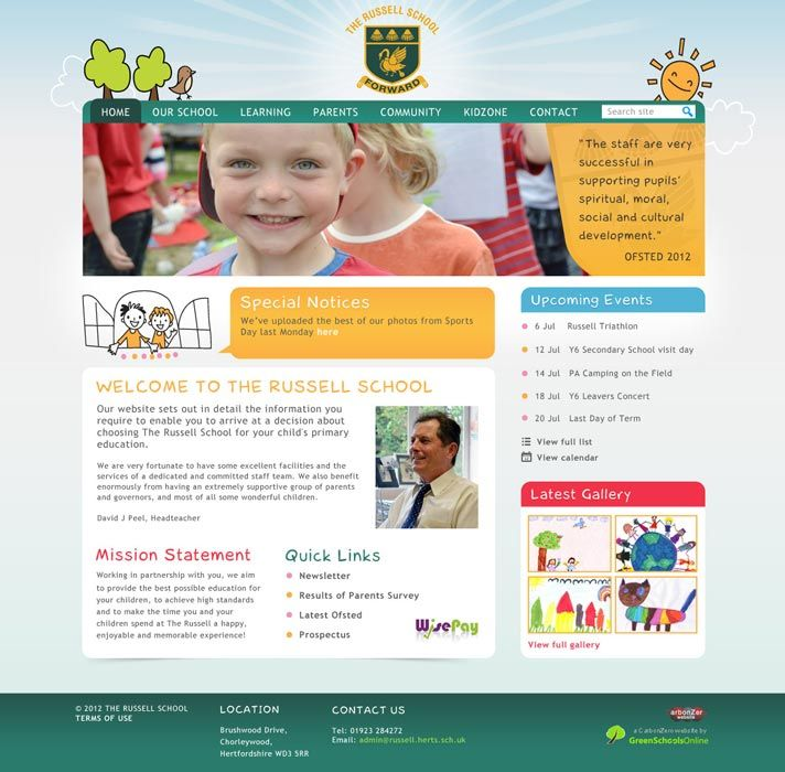 Enlarge The Russell School website design