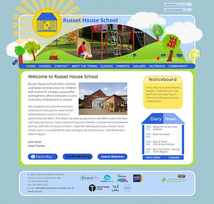 Enlarge Russet House School website design