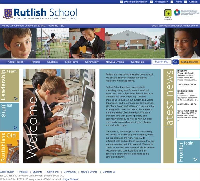 Enlarge Rutlish School website design