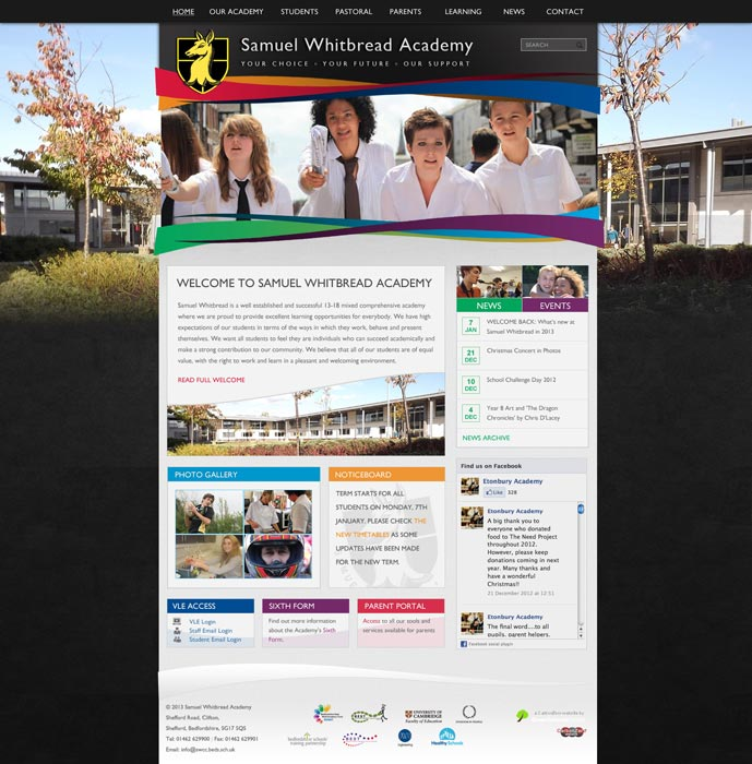 Enlarge Samuel Whitbread Academy website design