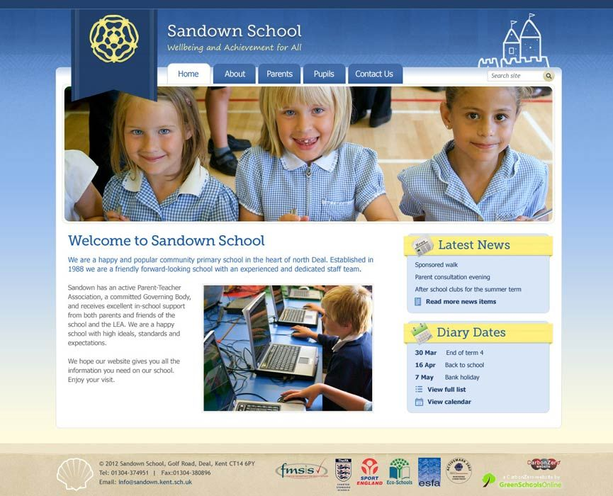 Enlarge Sandown School website design