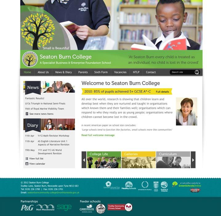 Enlarge Seaton Burn College website design