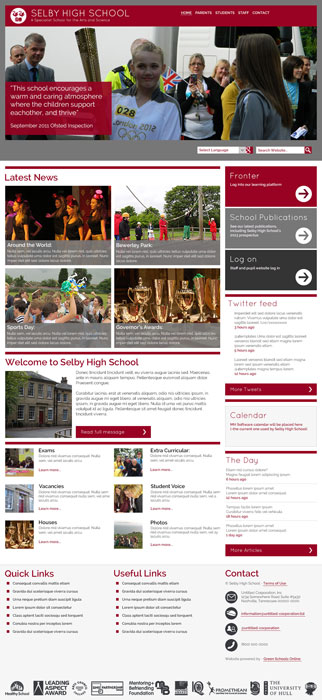 Enlarge Selby High School website design