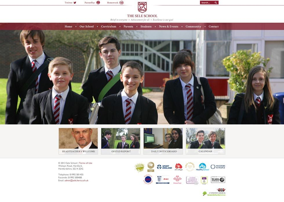 Enlarge The Sele School website design