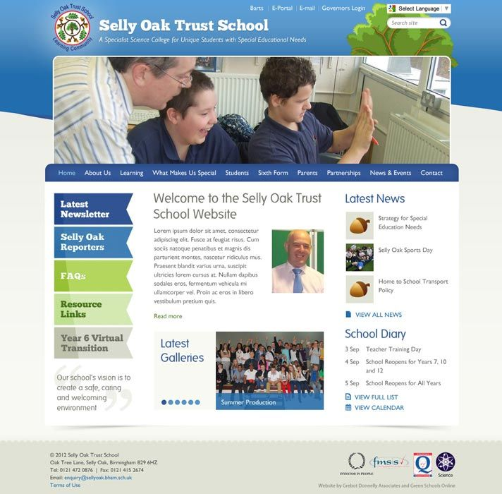 Enlarge Selly Oak Trust School website design