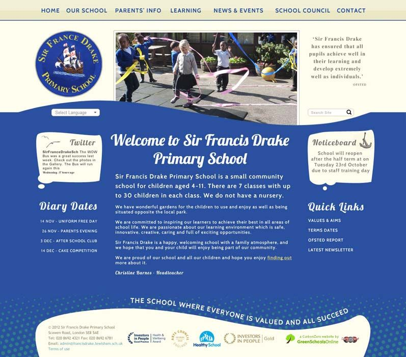 Enlarge Sir Francis Drake Primary School website design