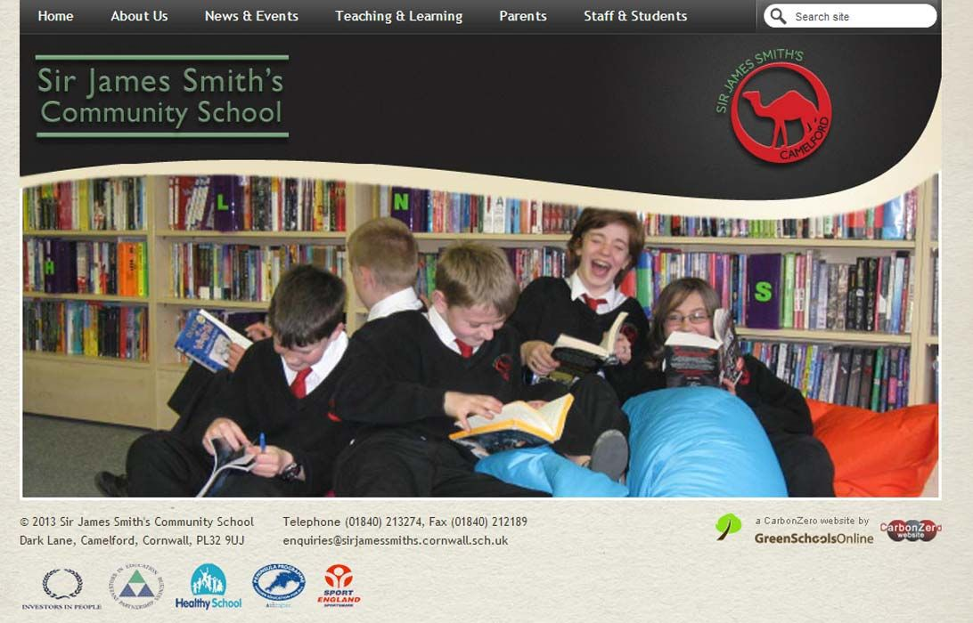 Enlarge Sir James Smith's School website design