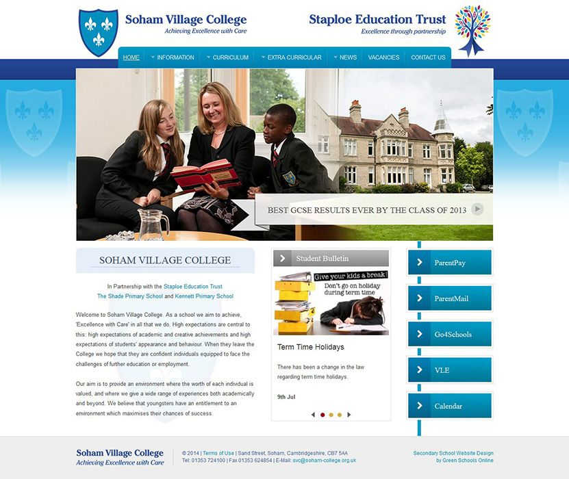 Enlarge Soham Village College website design