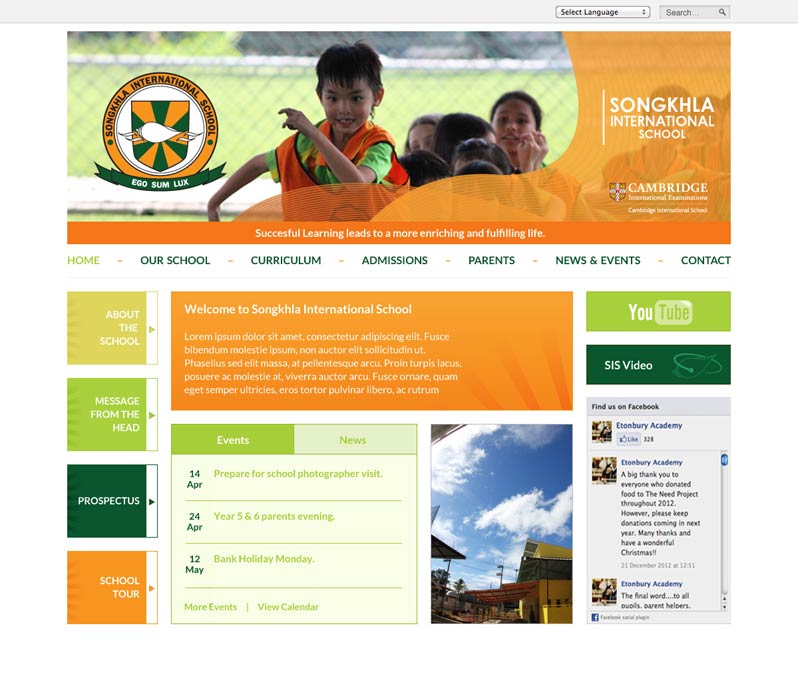 Enlarge Songkhla International School website design
