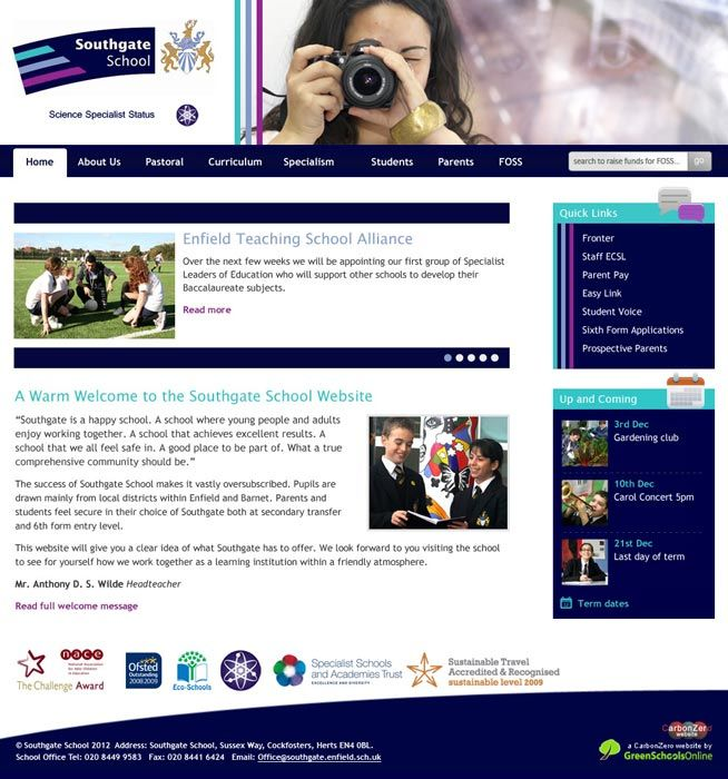 Enlarge Southgate School website design