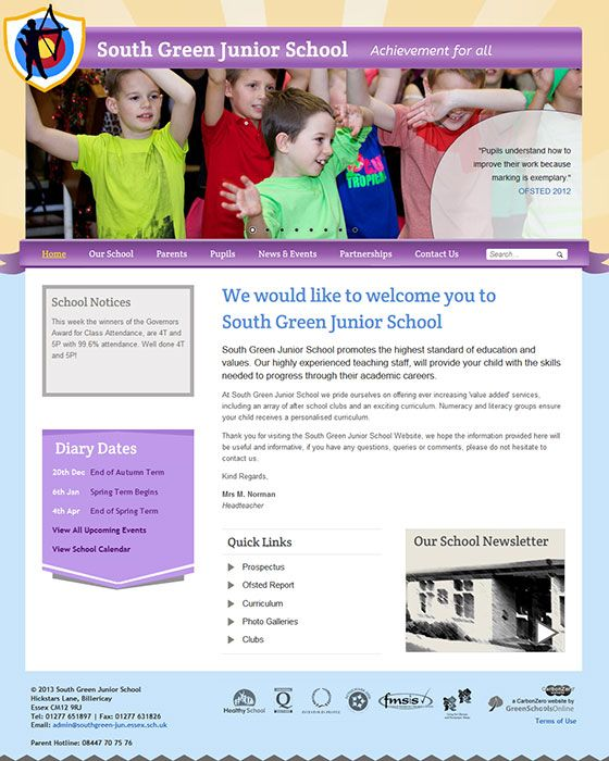 Enlarge South Green Junior School website design