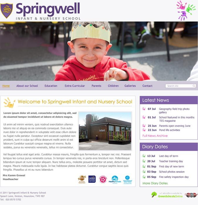 Enlarge Springwell Infant and Nursery School website design