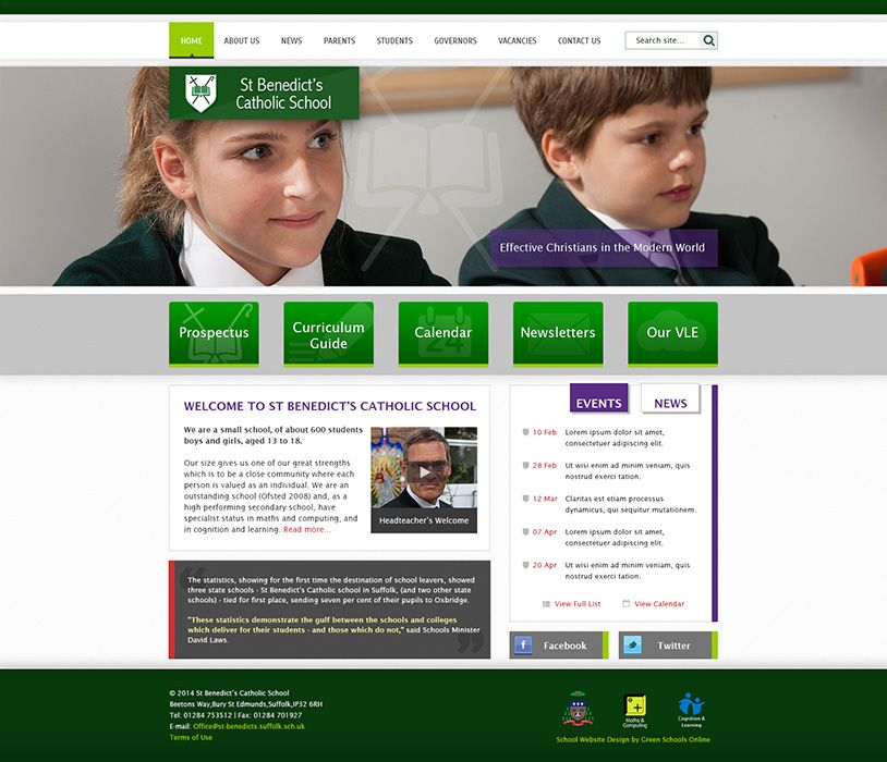 Enlarge St Benedict's Catholic School website design