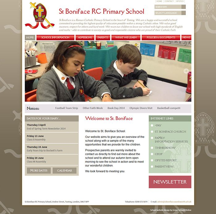 Enlarge St Boniface RC Primary School website design
