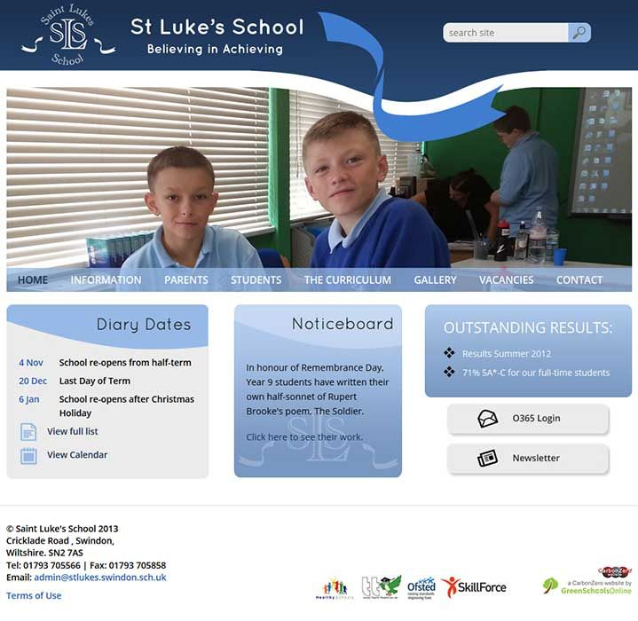 Enlarge Saint Luke's School website design