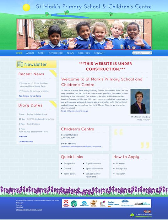 Enlarge St Mark's Primary School and Children's Centre website design