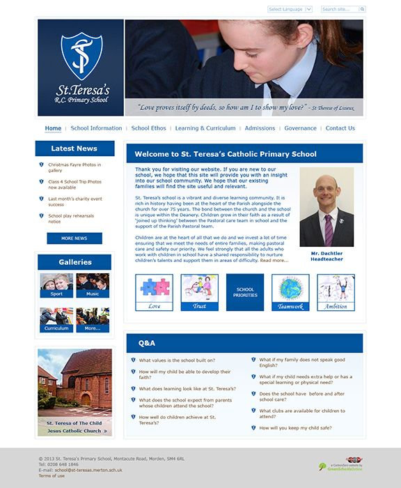 Enlarge St Teresa's RC Primary School website design