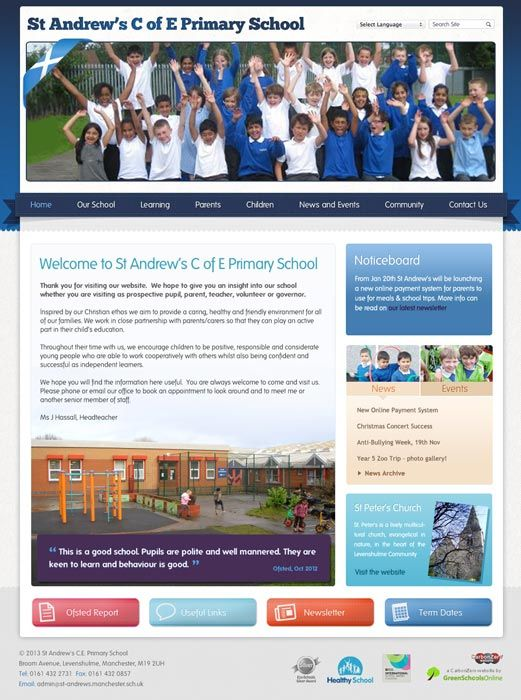 Enlarge St Andrew's (Manchester) website design