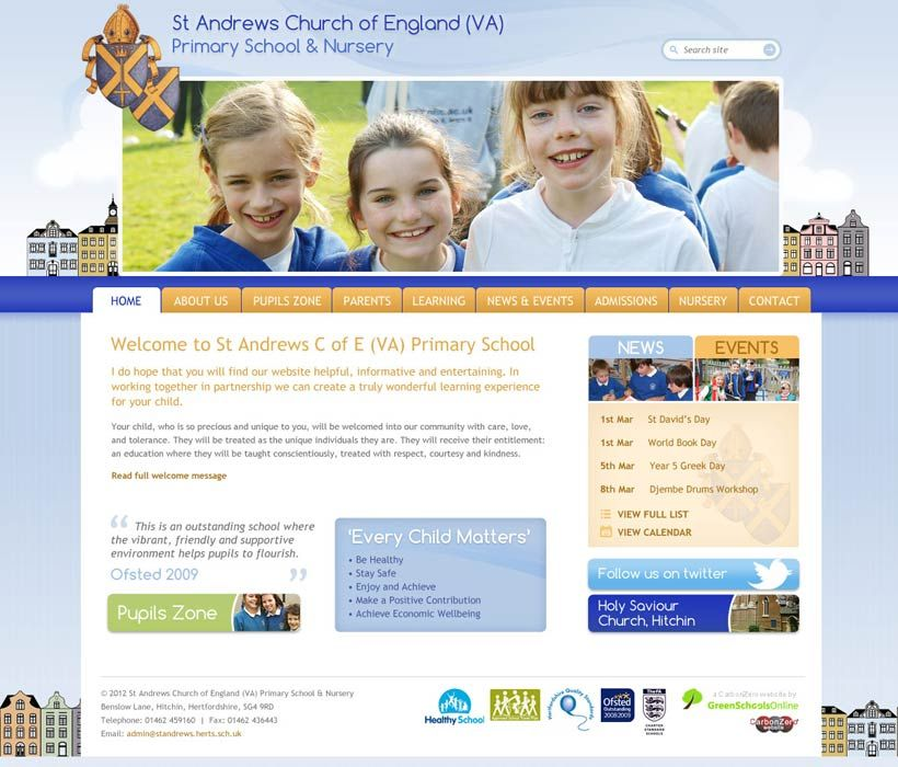 Enlarge St Andrew's (Herts) website design