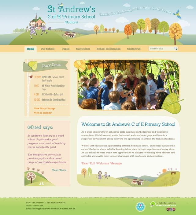 Enlarge St Andrew's (Nuthurst) website design
