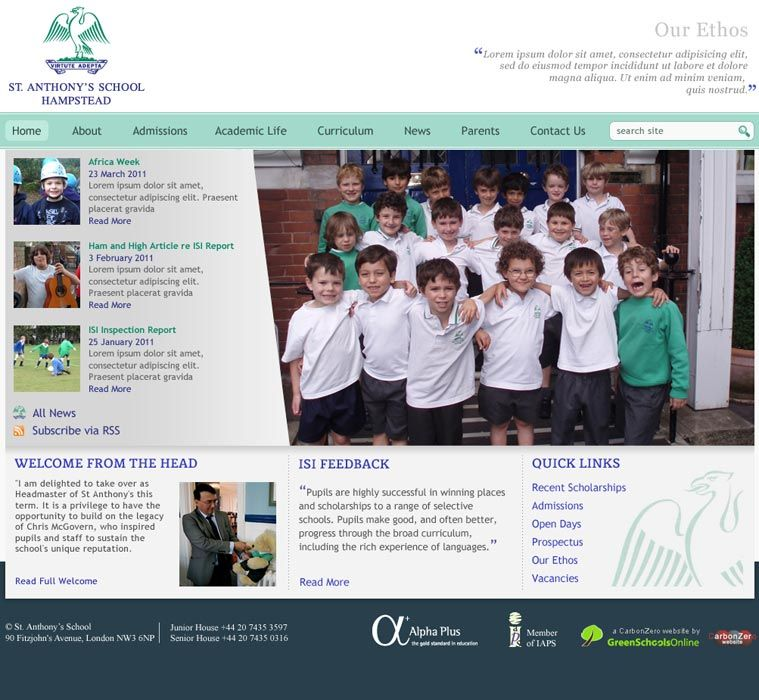 Enlarge St Anthony's School website design