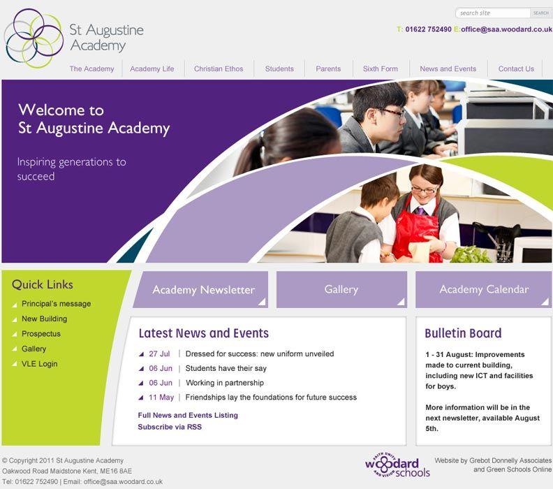 Enlarge St Augustine Academy  website design
