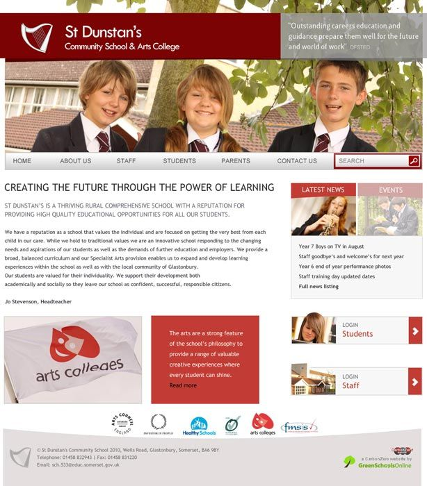 Enlarge St Dunstan's School website design