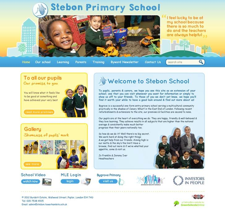 Enlarge Stebon Primary School website design