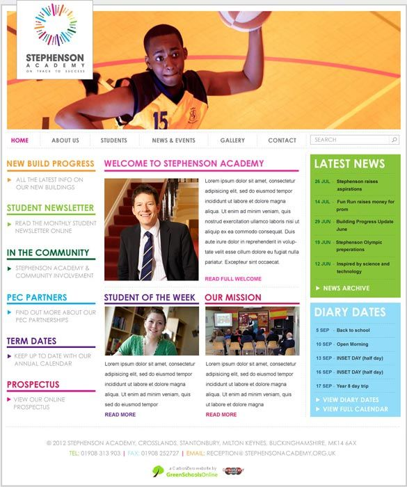 Enlarge Stephenson Academy website design