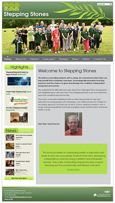 Enlarge Stepping Stones website design