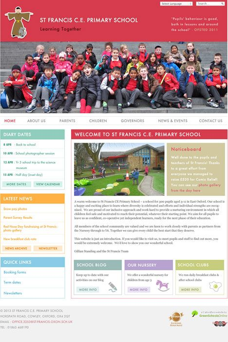 Enlarge St Francis C.E. Primary School website design