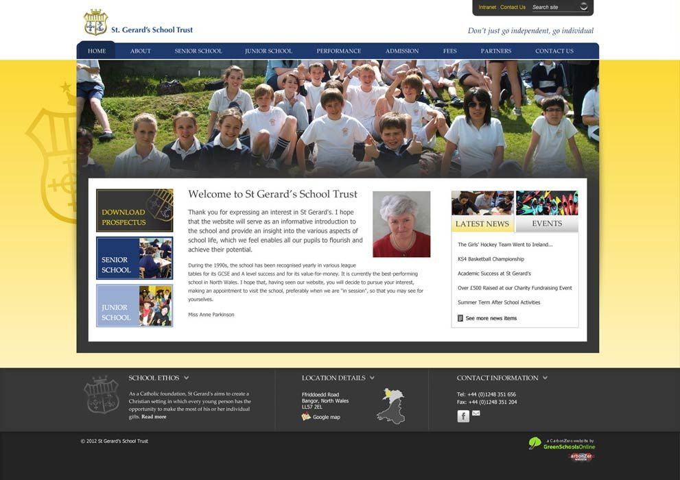 Enlarge St Gerards School website design