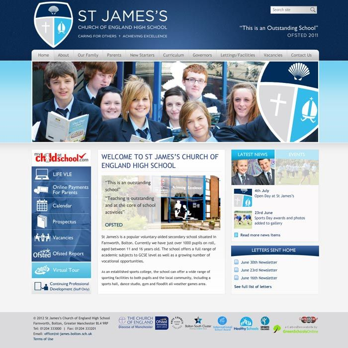 Enlarge St James's (Bolton) website design