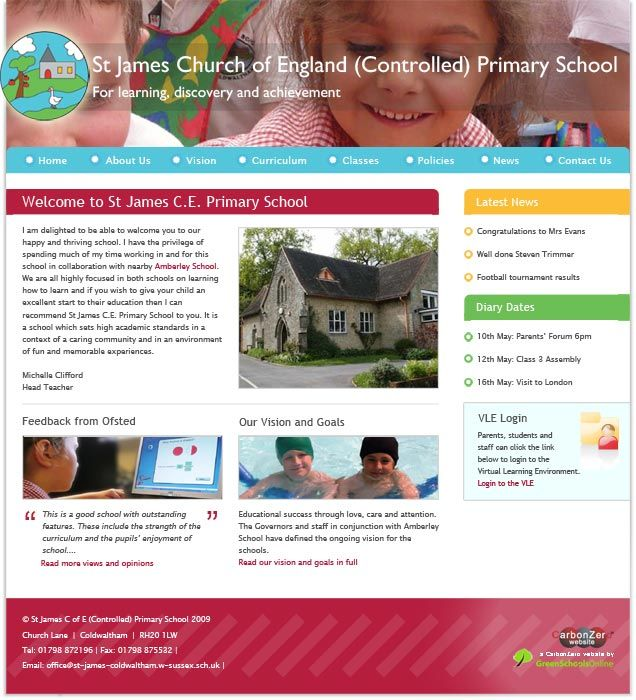 Enlarge St James' (Coldwaltham) website design