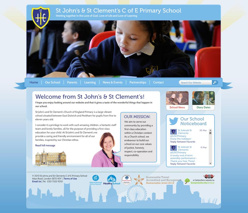 Enlarge St John's and St Clement's website design