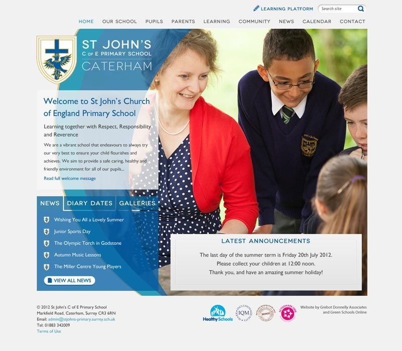 Enlarge St John's Primary (Caterham) website design