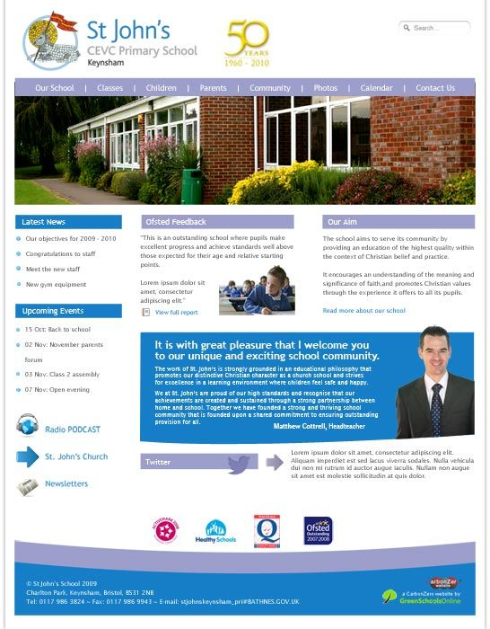 Enlarge St John's Primary (Keynsham) website design