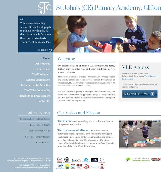 Enlarge St John's Primary Academy (Clifton) website design