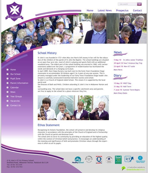 Enlarge St John's (Midsomer Norton) website design