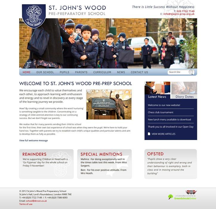 Enlarge St John's Wood Pre-Prep website design